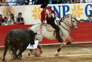 Hermoso torea con la bandera a lomos de 'Chacmat' ante el toro que abrió plaza en Guadalajara.