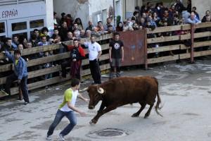 Un momento del encierro del jueves, con ganado de Pedro Domínguez. Fotografía: Alberto Galdona.