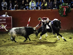 Hermoso en Tlaquepaque toreando con 'Berlín', caballo que debutó en el tercio de banderillas.