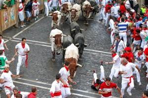 Imagen de un encierro de Pamplona del año pasado.