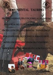 Cartel anunciador de la proyección de 'Veinticinco' en Peralta.