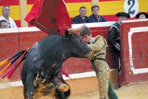 Pase por alto de Javier Marín el año pasado en la plaza de Tudela.