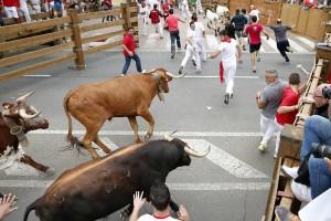 Un momento del encierro de esta mañana con toros de José Luis Marca. Fotografía: Blanca Aldanondo.