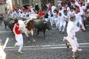Los toros de Miura marcaron un nuevo récord de velocidad en los encierros de Pamplona. Fotografía: EnfoqueTaurino.