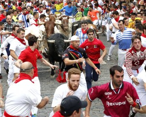 Los primeros toros en el callejón.