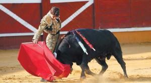 Derechazo de Javier Marín al que abrió plaza. Fotografía: Blanca Aldanondo.