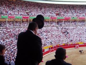 El palco presidencial de Pamplona durante una corrida de toros.