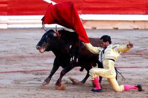 Pase de pecho rodilla en tierra de Iván Fandiño. Fotografía: Efe.