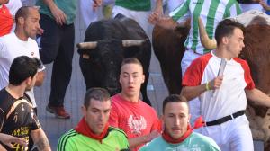 Un momento del encierro de esta mañana con toros de Juan Albarrán.