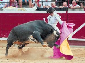 Javier Antón recibió con gusto a la verónica a su primero. Fotografía: Luis Carmona.
