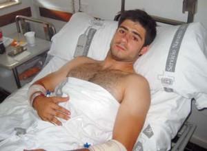 Kevin Goñi se recupera en el Complejo Hospitalario de Navarra. Fotografía: N. G.