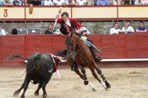 Hermoso hizo debutar en Navaluenga para el último tercio a 'Ágora', un castaño que cumplió con creces su función. Fotografía: pablohermoso,.net