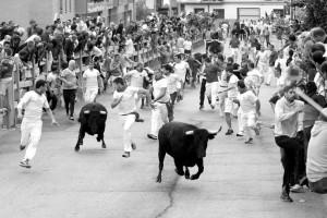Dos de los seis toros tomaron la delantera en el último tramo del encierro, derrotando a ambos lados. Fotografía: Eduardo Buxens.