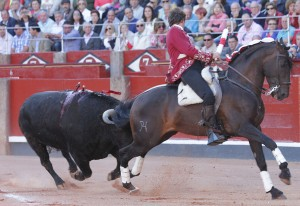 Hermoso ejecutando la hermosina con 'Disparate' ayer en Salamanca.