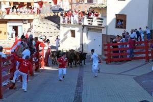 Comienzo de uno de los encierros en Villafranca. Fotografía: Enrique Morancho.