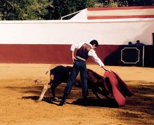 Marco, toreando con la diestra a una de las vacas de Dolores Aguirre en la plaza de tientas de Dehesa Frías.