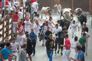Un momento del encierro del pasado 27 de julio, en el que corrieron cinco toros.