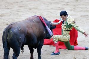 Desplante de Morenito de Aranda, el pasado 8 de julio en Pamplona.
