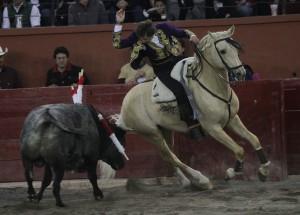 El caballero navarro, sobre 'Icarito', ayer en San Luis Potosí.