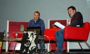 Patxi Garbayo y Gustavo Alegría durante la presentación de la ponencia sobre los encierros. Fotografía: Mijita.
