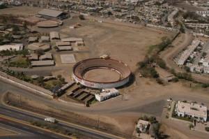 Vista aérea de la plaza de toros de Culiacán, estado de Sinaloa.