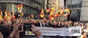 Cabeza de la maniestación taurina del pasado domingo en Valencia.