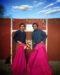 Javier Marín e Iván Fandiño en la plaza de tientas de Apolinar Soriano.