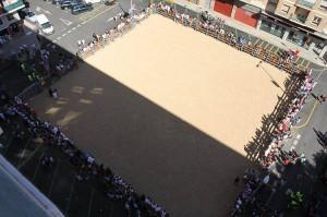 Plaza habilitada el año pasado en Barañain para la suelta de vacas, el espectáculo que más gente congregó.