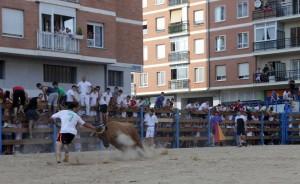 Una suleta de vaquillas el año pasado en Barañain, con el vallado repleto de público.