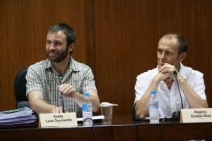 Regino Etxabe, a la derecha, junto a Koldo Leoz, alcalde de Estella, ambos de Bildu.