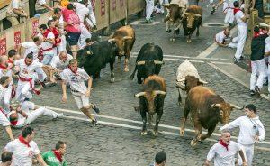 Un encierro de las pasadas fiestas de San Fermín.