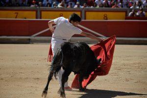 El Luri ejecuta un invertido en la plaza de toros de Pamplona.
