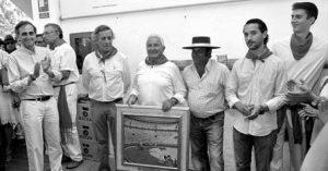 En la imagen, desde la izquierda, Eugenio Salinas, José Mª Marco, José Escolar, Julián Delgado, Miguel Criado y un aficionado.