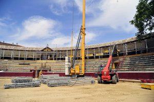 Las obras en la plaza de toros de Tafalla están a punto de finalizar.