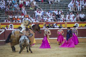 El sexto de Miura recibió duro castigo en el caballo, como el resto de la corrida de toros. Fotografía: Blanca Aldanondo.