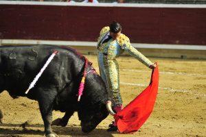 Buen natural de Alberto Aguilar al toro que abrió plaza. Fotografía: Alberto Galdona.