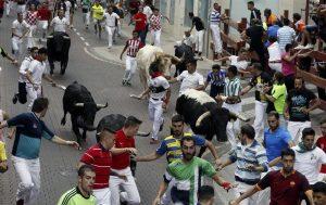 Un momento del accidentado encierro de esta mañana en San Sebastián de los Reyes.