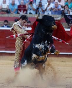 Pase por alto de José Tomás ayer en Huelva. Fotografía: Arjona.