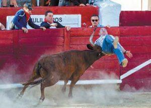 La vaca embistiendo y levantando a Marcos Echavarría. Fotografía: Aitor Arenaza.