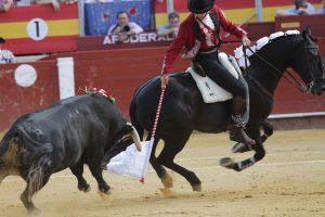 El caballero navarro, con 'Zelador', paró magistralmente en Almería al que abrió plaza. Fotografía: pablohermoso.net