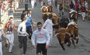 Pocos mozos se animaron a correr el encierro matutino de ayer en Sangüesa. Fotografía: Eduardo Buxens.
