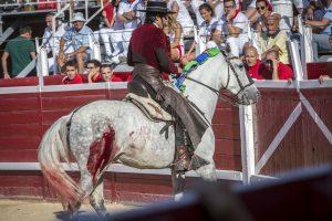 Borjas retira a su yegua 'Carmen', herida en su anca derecha. Fotografía: Jesús Caso.