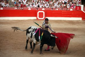 Natural de Bautista al quinto, un toro excesivametne cómodo de cara. Fotografía: Nuria G. Landa.
