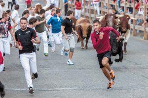 El segundo encierro de las fiestas de Sangüesa registró poca participación de corredores. Fotografía: Jesús Caso.