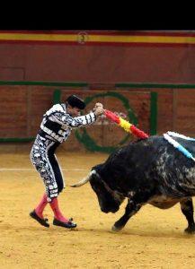 Manolo de los Reyes clava un par en el Arnedo Arena al utrero 'Espantavivos', de Baltasar Ibán.