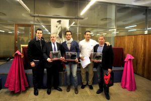De izda. a dcha., Andrés Baztán, Luis de Verástegui, Iván Fandiño, Manuel Sagüés y José Otero. Fotografías: Alberto Galdona.