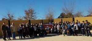 El grupo de aficionados tafalleses en la plaza de tientas de Los Rodeos.