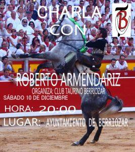 Cartel anunciador de la charla que ofrecerá esta tarde Roberto Armendáriz en Berriozar.