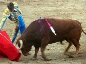 Derechazo del francés Leal a un toro de Apolinar Soriano, el año pasado en la plaza de Fitero.