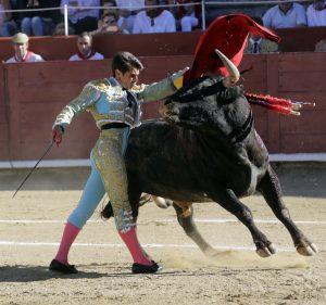 Pase de pecho de Francisco Marco al miura 'Baratero', al que le cortó las dos orejas. Fotografía: José Antonio Goñi.